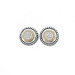 Belle Artique Sterling Silver 14K Gold Accented White Zircon Stud Earrings