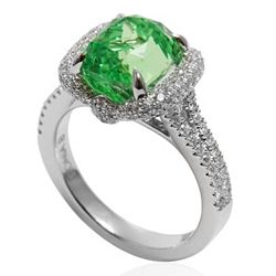 Rings 164-184 Galerie de Bijoux® Tresor Collection 18K White Gold 6.62ctw Mint Garnet, Diamond Ring - Size 6.5 - 164-184