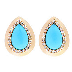 Turquoise - EFFY Turquesa 14K Gold 9 x 6mm Sleeping Beauty Turquoise & Diamond Halo Stud Earrings - 164-392