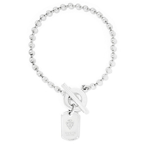 66dc23a1c Gucci Sterling Silver Choice of Length Crest Dog Tag Toggle Bracelet - EVINE