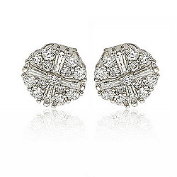 Suzy Levian New York Sterling Silver 3.16 DEW Simulated Diamond Fancy Cluster Stud Earrings