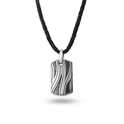 695546c2c 164-989- Artisan Silver by Samuel B. Men's Textured Dog Tag Pendant w