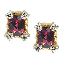 Gems en Vogue The Vault 14K Two-tone Gold 2.82ctw Rhodolite Garnet & Diamond Stud Earrings