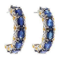 Sapphire - Gems en Vogue 4.20ctw Royal Blue Sapphire Hoop Earrings - 165-124