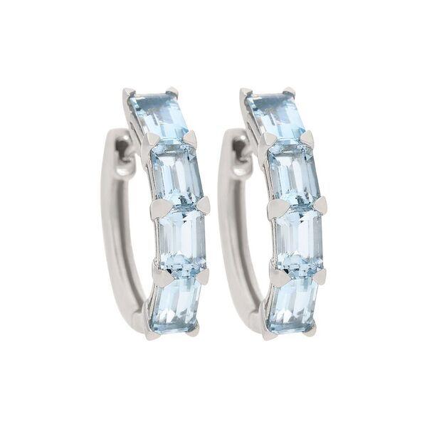 Fierra 14k White Gold 3 87ctw Aquamarine Hoop Earrings