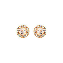 Fierra™ 14K Rose Gold Morganite & Diamond Stud Earrings