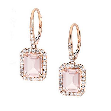 89c825a62 165-215- Fierra™ 14K Rose Gold 4.35ctw Morganite & Diamond Drop Earrings