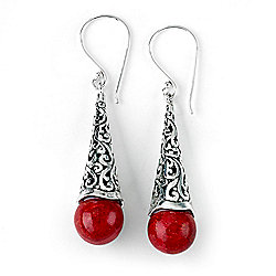 Artisan Silver by Samuel B. Coral Balinese Design Cone Drop Earrings - 165-802