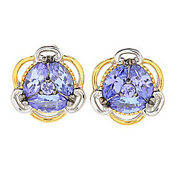 Gems en Vogue 1.54ctw Tanzanite Cluster Stud Earrings
