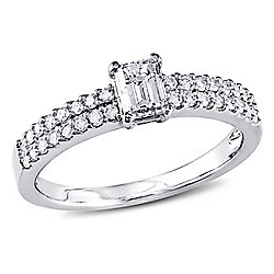 fd1e64e97265d1 Julianna B 14K White Gold 0.75ctw Emerald Cut Diamond Engagement Ring
