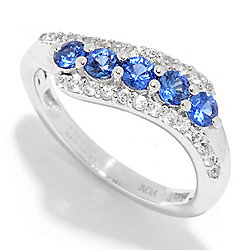 Gem Treasures® Sterling Silver Ceylon Blue & White Sapphire Band Ring