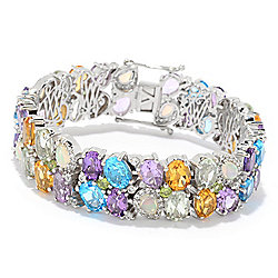 Multi Gem - Victoria Wieck Collection Sterling Silver Ethiopian Opal & Multi Gemstone Bracelet - 166-055