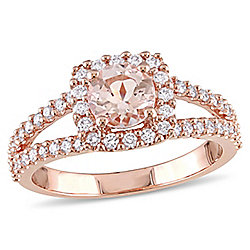Julianna B 14K Rose Gold 1.33ctw Morganite & Diamond Engagement Ring