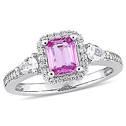 2d1e35f9241c8d Julianna B 14K White Gold 1.36ctw Pink Sapphire, White Sapphire & Diamond  Engagement Ring