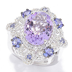 Amethyst  - Victoria Wieck Collection 5.77ctw Amethyst & Multi Gemstone Fancy Halo Ring - 166-159