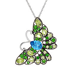 Victoria Wieck Collection 6.00ctw Multi Gemstone Butterfly Pendant w 18 Rope Chain - 166-171