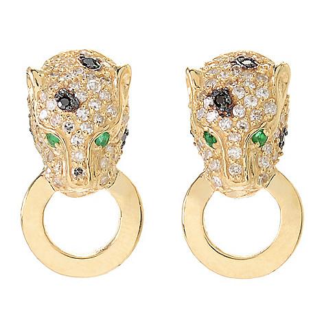 Effy Signature 14k Gold 0 62ctw Diamond Emerald Panther Stud Earrings Evine