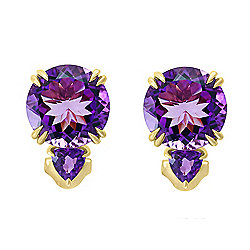 Jewelle 14K Gold 11.80ctw Amethyst 2-Stone Stud Earrings