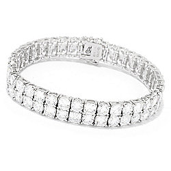 "Victoria Wieck for Brilliante® 7.25"" 30.81 DEW Simulated Diamond 2-Row Bracelet"