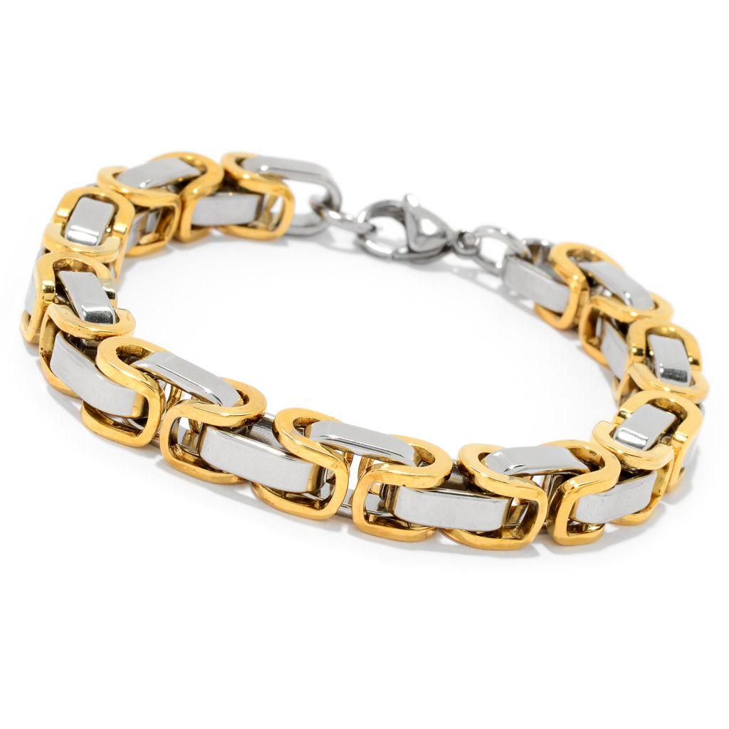 Fine Jewelry Mens Two-Tone Stainless Steel Byzantine Chain Bracelet JJ8m2