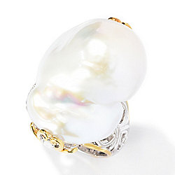 Gems en Vogue 23 x 19mm Baroque Freshwater Cultured Pearl & White Zircon Ring