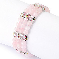 "Gems en Vogue Final Cut 7.5"" or 8"" Morganite Bead & Pink Sapphire Toggle Bracelet"