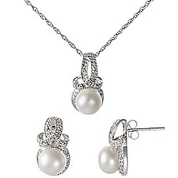 Kwan Collections Sterling Silver 7-7.5mm Cultured Pearl & Diamond Drop Earrings & Pendant Set