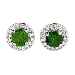 Gemporia 1.49ctw Chrome Diopside & White Zircon Halo Stud Earrings