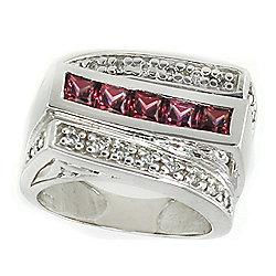 Gems en Vogue The Vault 14K White Gold 1.01ctw Rhodolite & Diamond Ring – Size 5