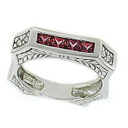 Gems en Vogue The Vault 18K White Gold 1.27ctw Rhodolite & Diamond Stack Ring – Size 8
