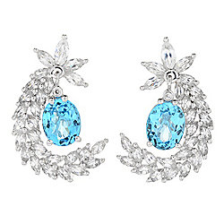 Earrings - Victoria Wieck Collection 1.25 10 x 8mm Gemstone & White Zircon Drop Earrings - 167-432