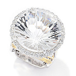 Gems en Vogue 27.05ctw Honeycomb Cut White Quartz & White Zircon Ring