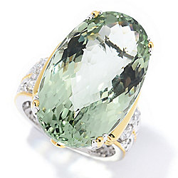 Gems en Vogue 26.14ctw Checkerboard Cut Prasiolite & White Zircon Ring