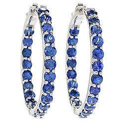 Gem Treasures® Sterling Silver Ceylon Blue Sapphire Inside-out Hoop Earrings