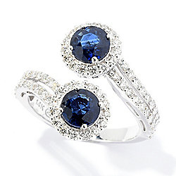 Beverly Hills Elegance® 14K White Gold 2.54ctw Sapphire & Diamond Halo Bypass Ring - 167-644