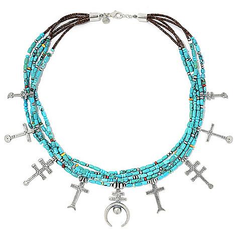"Sunwest_Silver Museum_24"" Gemstone_5-Strand Double_Cross_& Naja_Necklace"