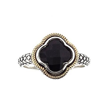 62eb2a7532a8c Belle Artique Sterling Silver 14K Gold Accented 8mm Black Onyx Quatrefoil  Clover Ring