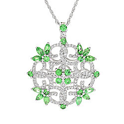Pendants & Necklaces - Gem Treasures® Sterling Silver 3.38ctw Tsavorite Garnet & Multi Gem Medallion Pendant wITH Chain - 167-921