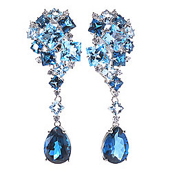 Victoria Wieck Collection Sterling Silver 2 27.13ctw Blue Topaz Earrings - 168-095