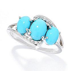 Gemporia Oval Sleeping Beauty Turquoise & White Zircon 3-Stone Ring - 168-439