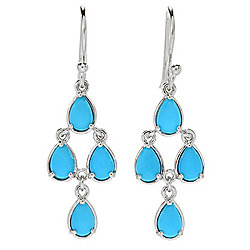 "Gemporia 1.5"" Pear Shaped Sleeping Beauty Turquoise Tiered Dangle Earrings"