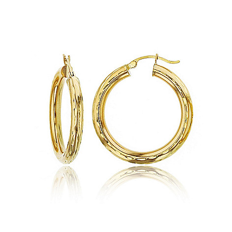 168 451 14k Yellow Gold Choice Of Size Diamond Cut Hoop Earrings