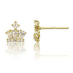 850410afa 14K Gold 0.70 DEW Simulated Diamond Crown Stud Earrings