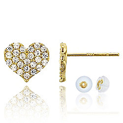 bb574af73 14K Gold 0.20 DEW Simulated Diamond Heart Stud Earrings