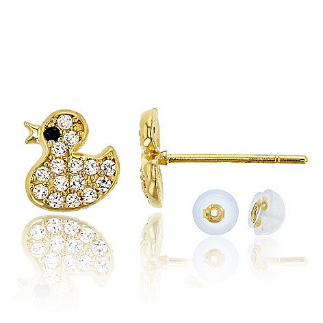 dc6a797b10e4c 14K Gold 0.12 DEW Simulated Diamond Baby Duck Stud Earrings