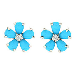 Gem Treasures® Sterling Silver Sleeping Beauty Turquoise & White Zircon Flower Stud Earrings