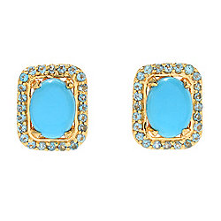 Turquoise - Victoria Wieck Collection Sleeping Beauty Turquoise & Gemstone Halo Stud Earrings - 168-731