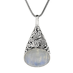 Artisan Silver by Samuel B. 18 x 13mm Opaque Gemstone Fish Pendant w 18 Popcorn Chain - 168-773