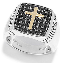f29e73ad55614d Image of product 168-833. QUICKVIEW. EFFY Men's Sterling Silver & 18K Gold Black  Sapphire Symbol Ring