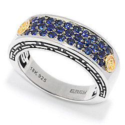 378a120e067f6f EFFY Men's Sterling Silver & 18K Gold 1.10ctw Gemstone 3-Row Band Ring